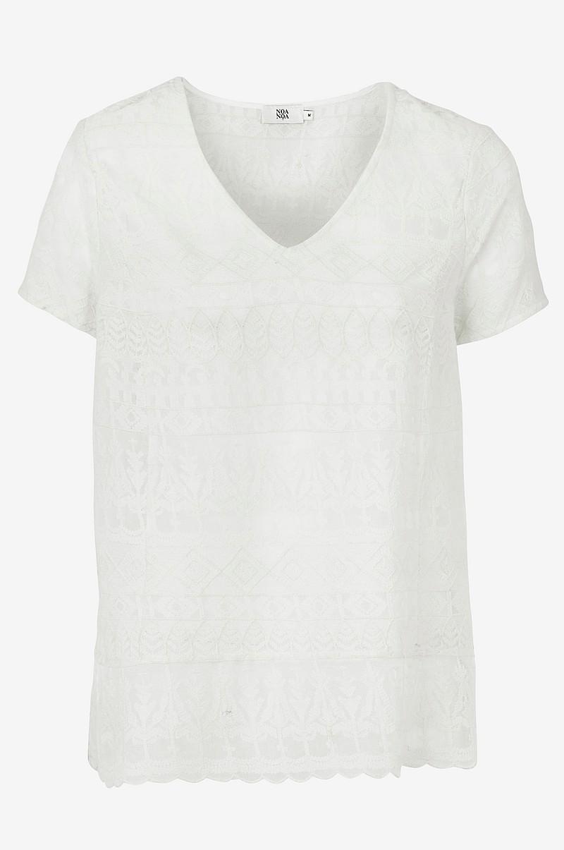 Noa Noa Bluse med broderier Hvid Dame Skjorter & bluser