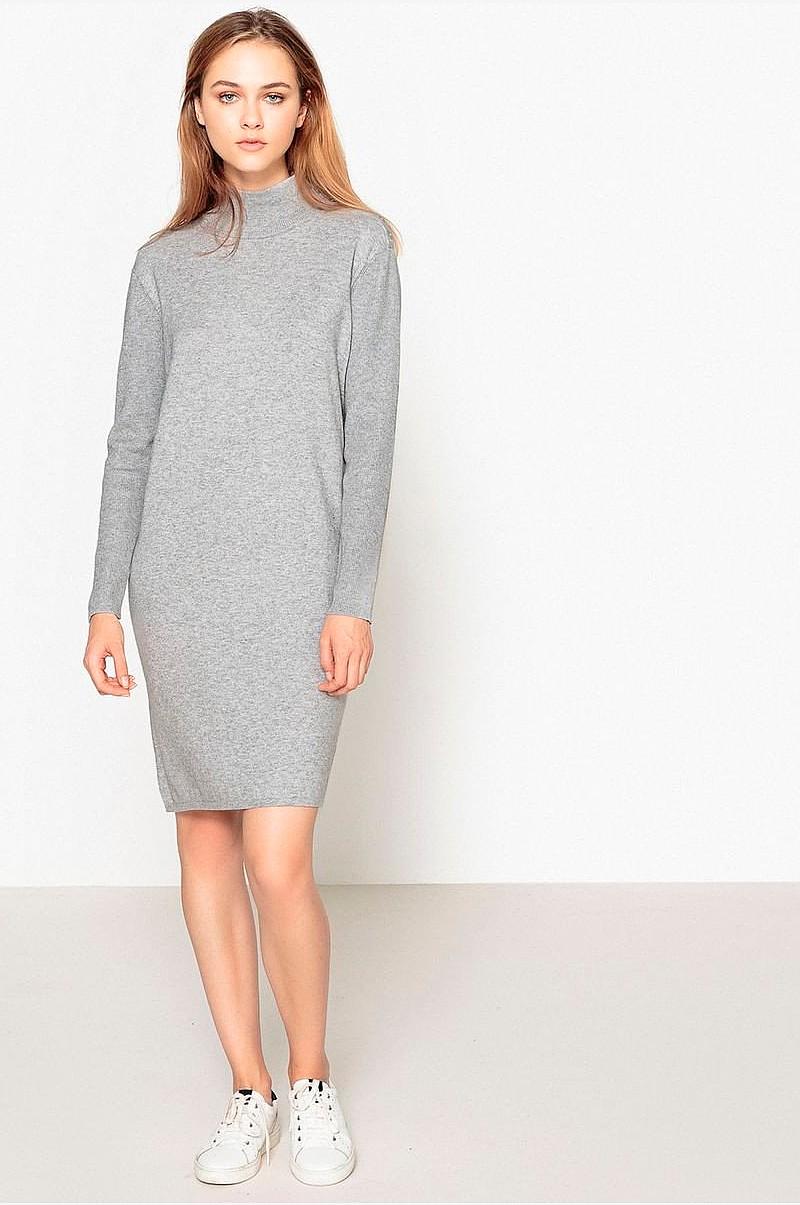 La Redoute Collections Stickad klänning med polokrage, med