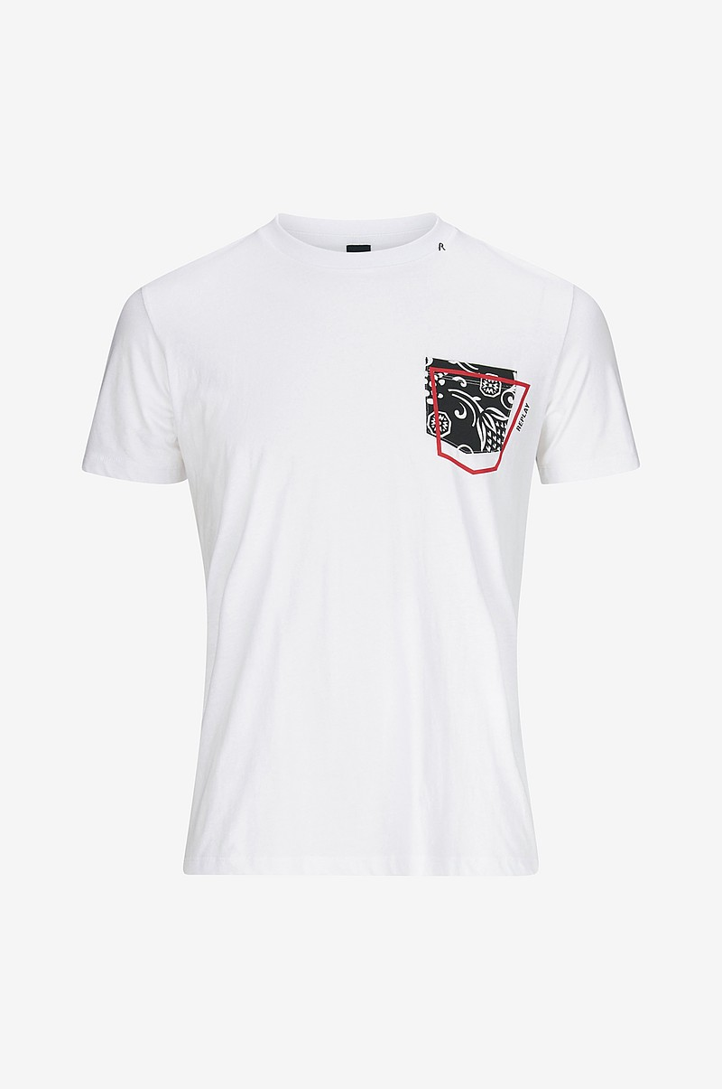 Replay T shirt med lomme Hvid Herre Ellos.dk