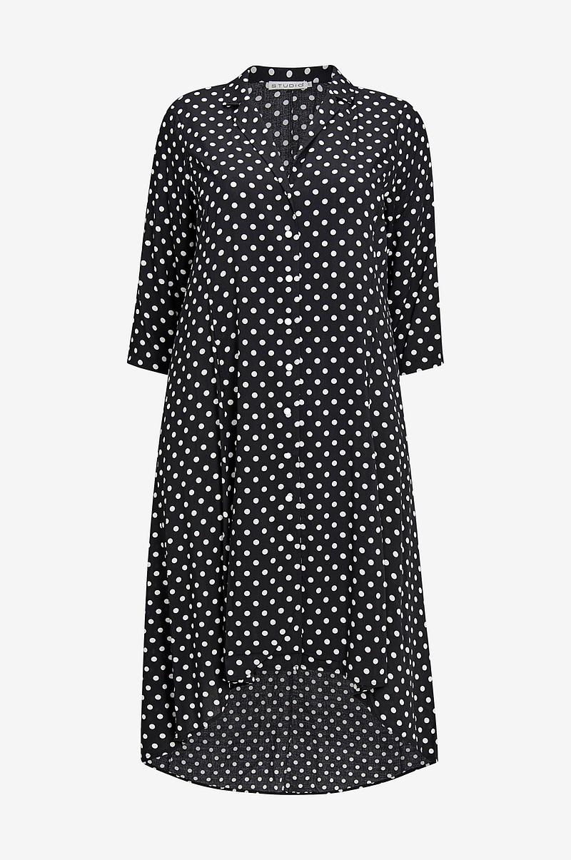 Studio Svart viskose kjole med prikker
