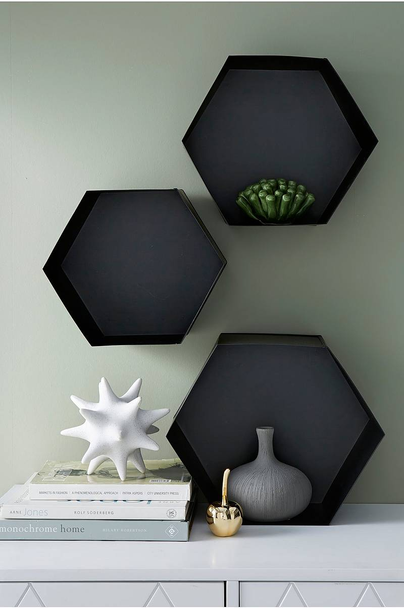 Vegghylle Hexagon, 3-pk