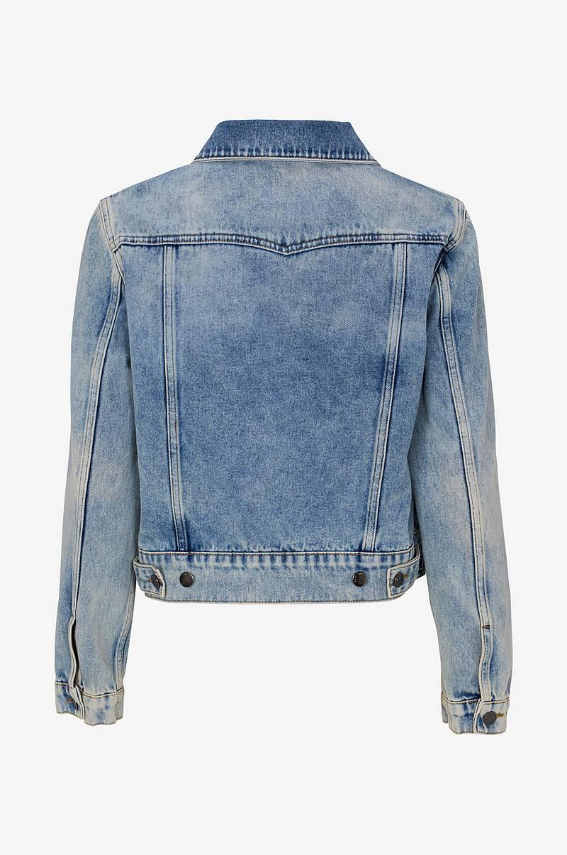 Jeansjacka i kort, tvättad modell