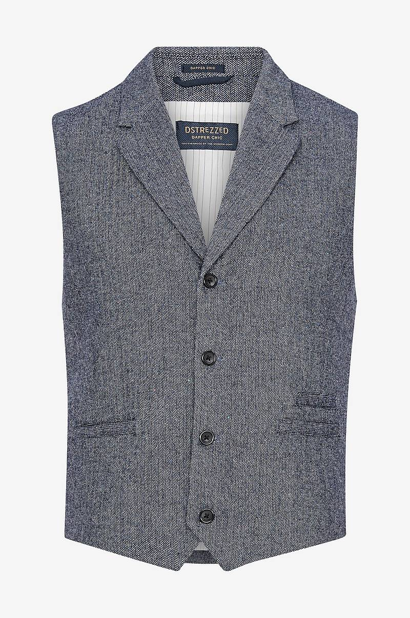 Vest Gilet Herringbone Wool Tweed Naps