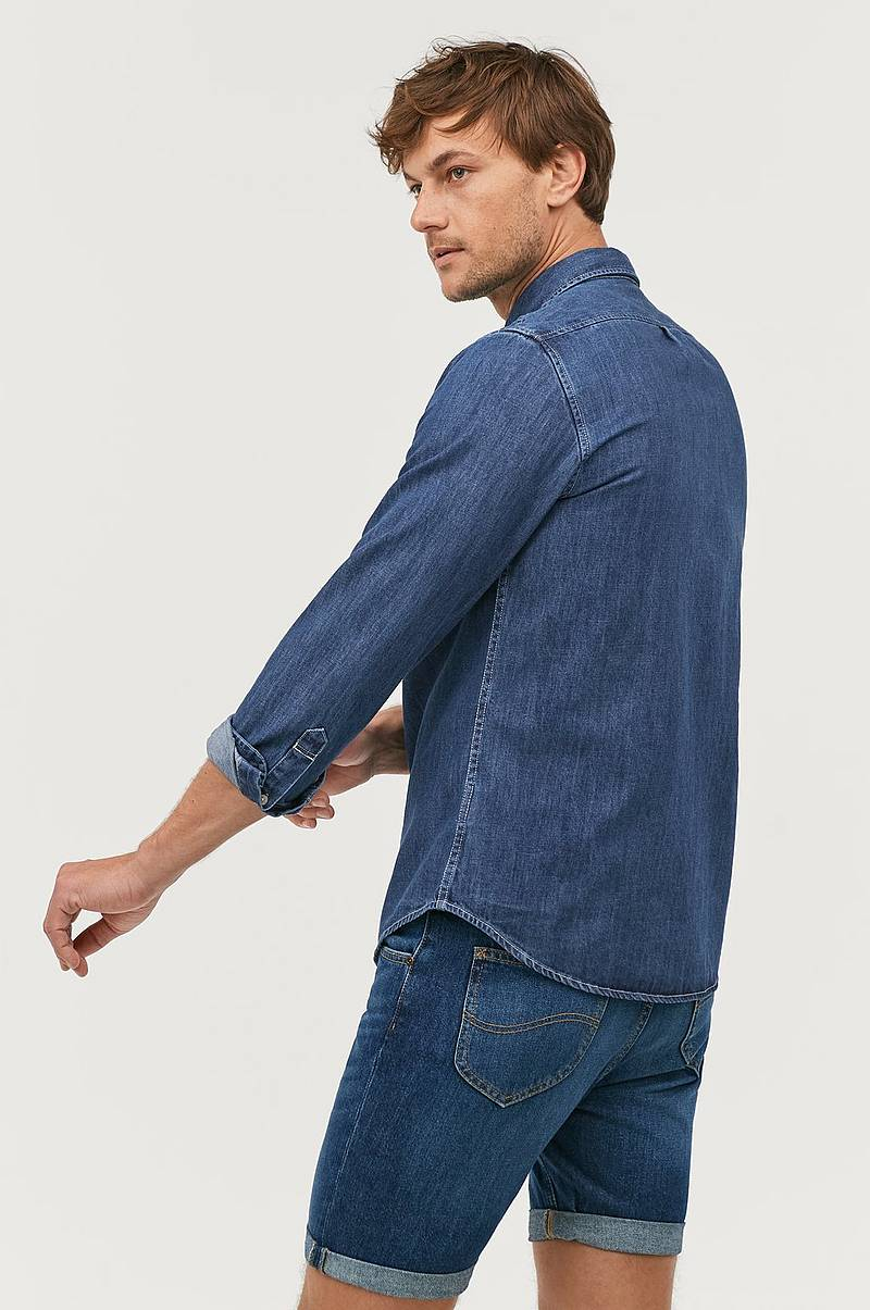 Jeansskjorta Button Down Dipped Blue