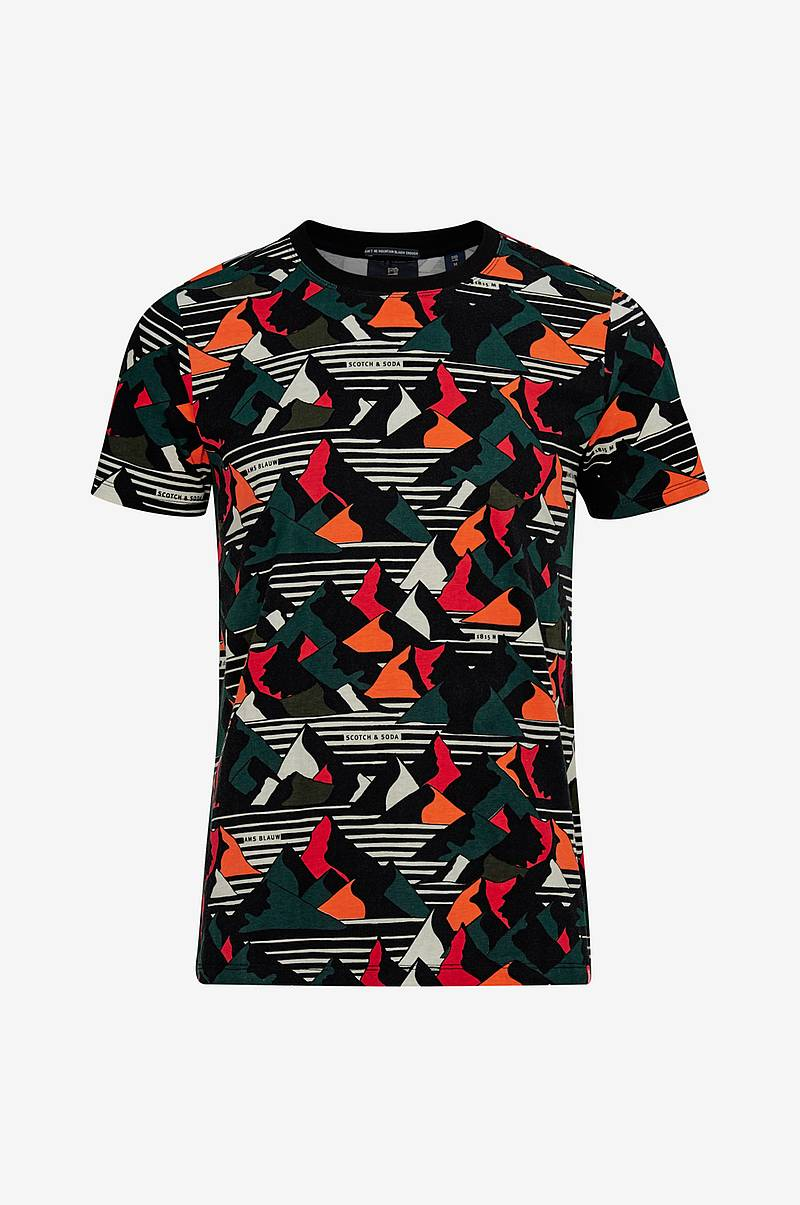 T-shirt Ams Blauw Regular Fit Allover Printed Tee