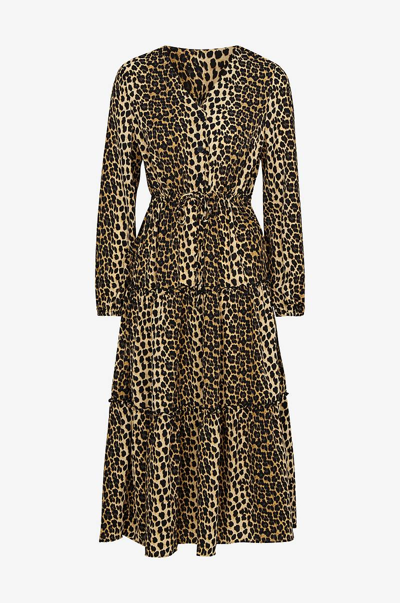 Volangkjole vmLeo Ankle Dress, leopardmønstret