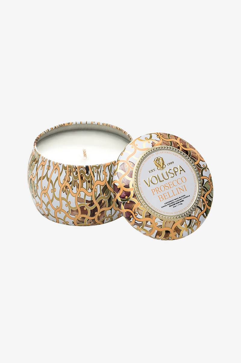 Prosecco Bellini Decorative Tin Candle 25 h