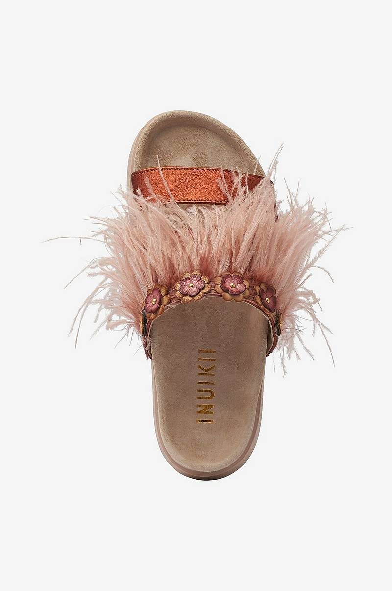 Slippers Feathers Flower