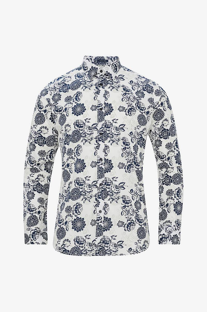 Paita L/S Regular Collar Shadow Flower