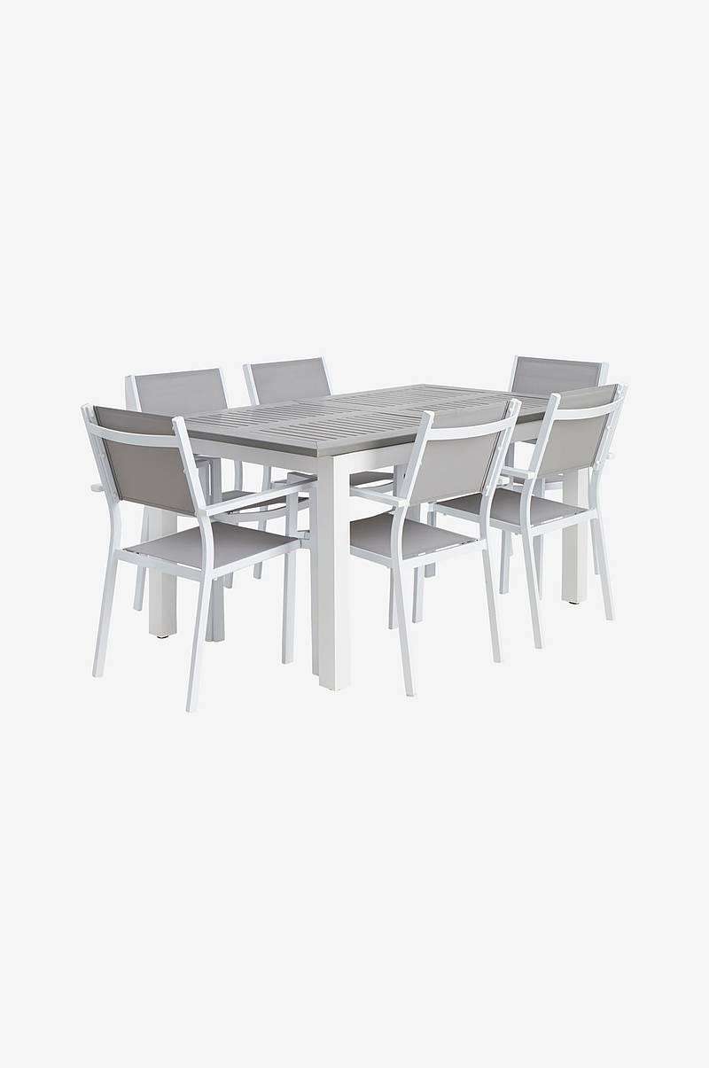 1720aba4 Spisegruppe Verona, bord 160/240 x 100 cm med 6 stoler