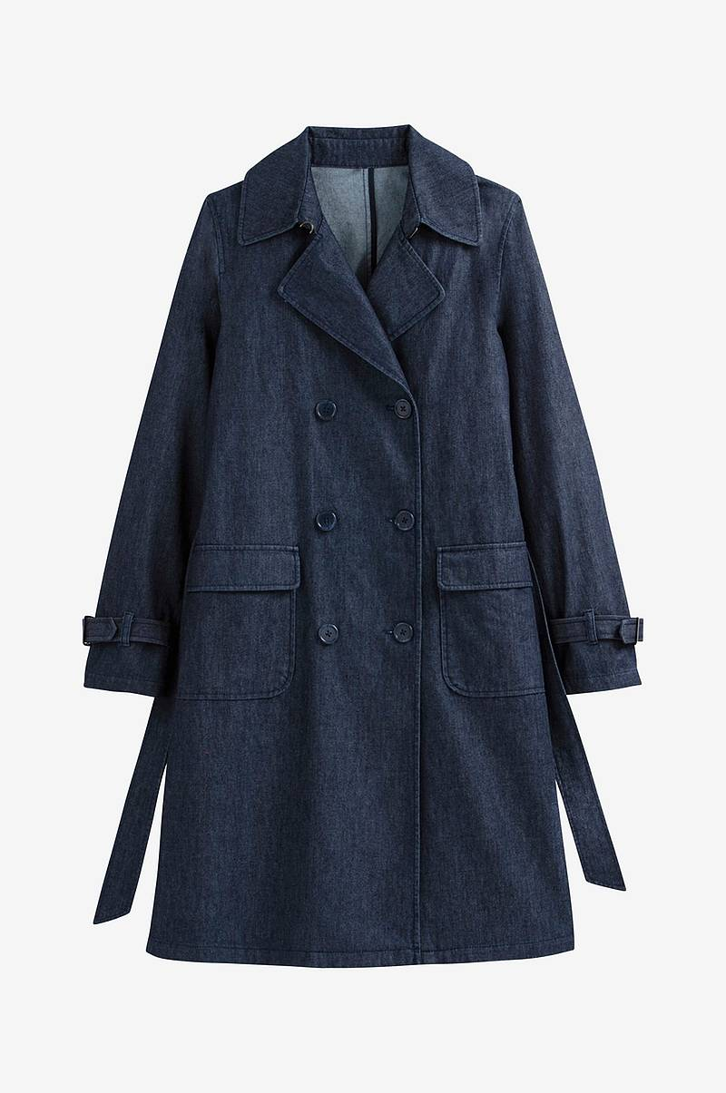 Lang trenchcoat i denim