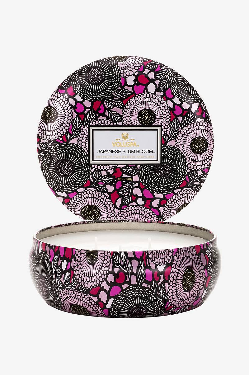 Japanese Plum Bloom- 3 Wick Candle in Decorative Tin 40 tim 340g