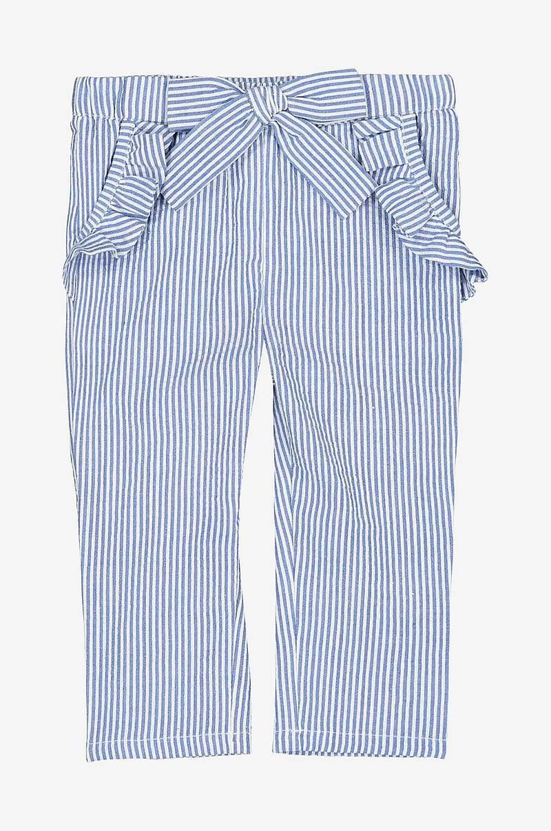 cb0d9534 Stripete bukse med volang ved lommene