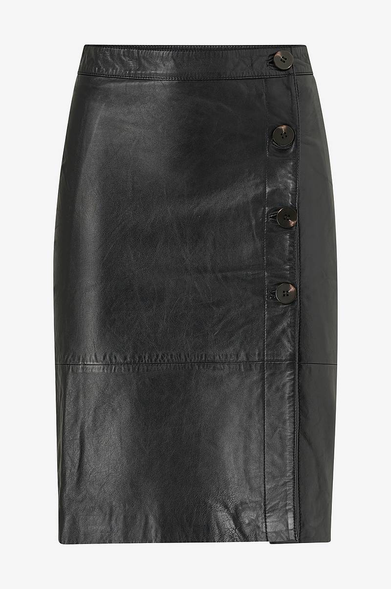 Skindnederdel viElfi HW Leather Skirt
