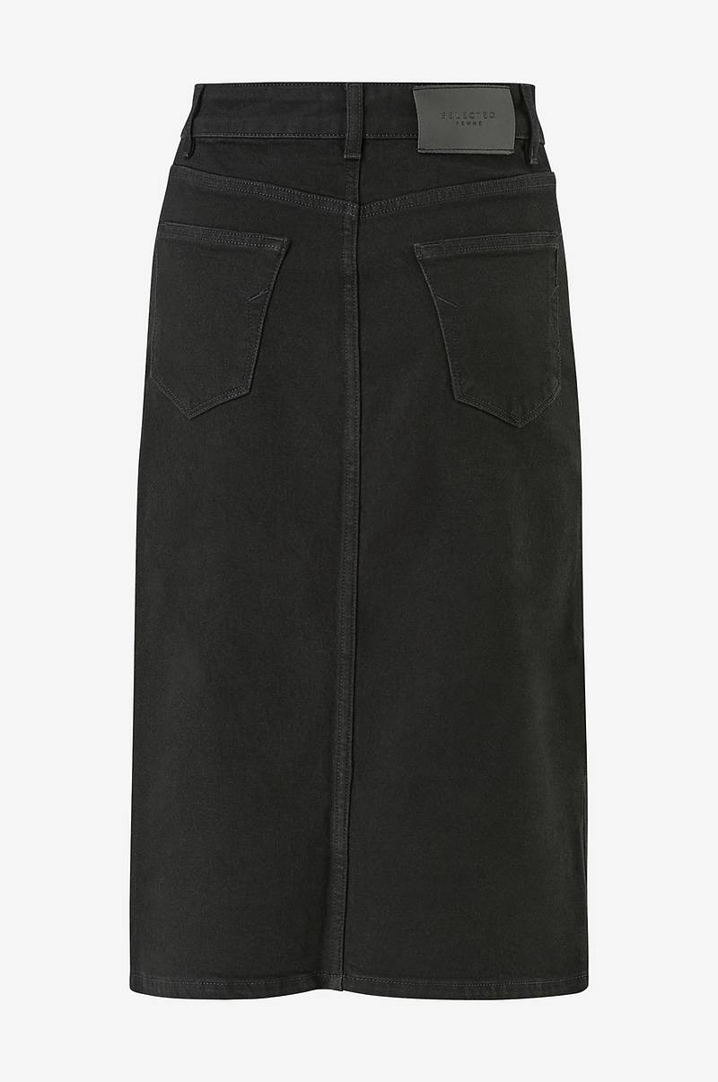 Farkkuhame slfViolet HW Lash Black Denim Skirt