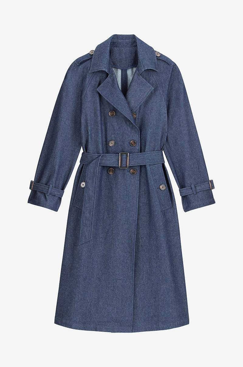 Lang trenchcoat i denim med knapping