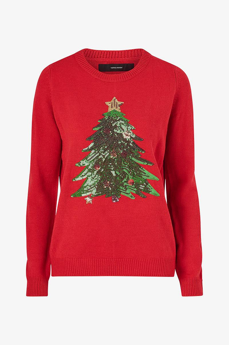 Julegenser vmShiny Christmas Tree LS Blouse