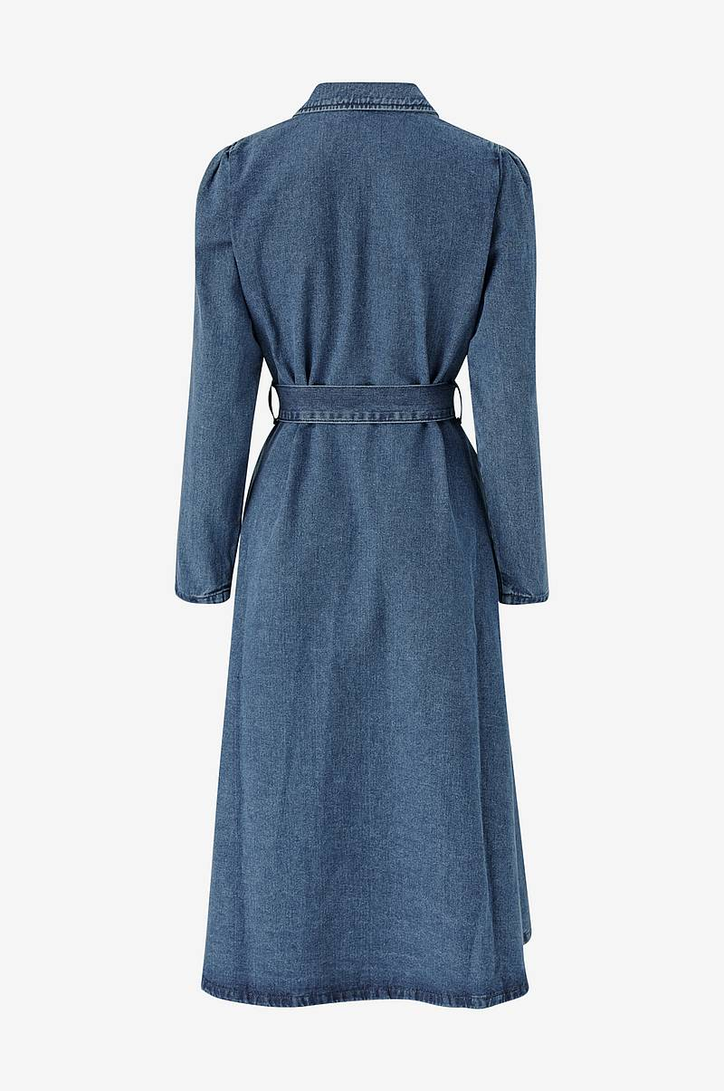 Farkkumekko slfHarper LS Fray Blue Denim Dress