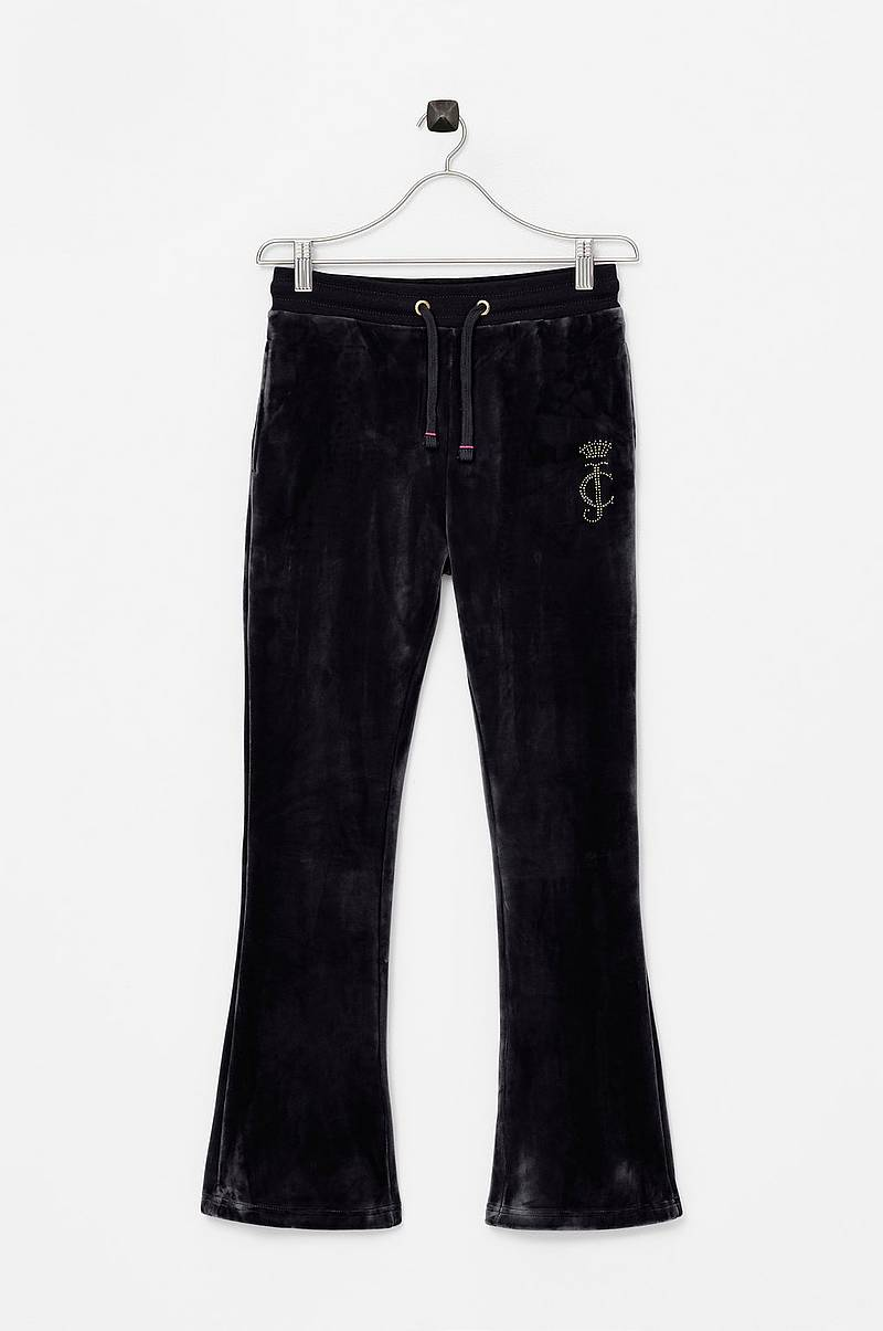 Juicy Luxe Velour Open Leg Jogger Jet Black 14-15Y