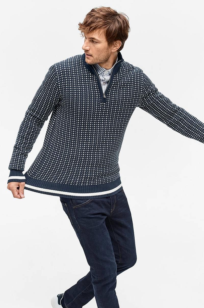 806e8509 Strikket genser med kort glidelås