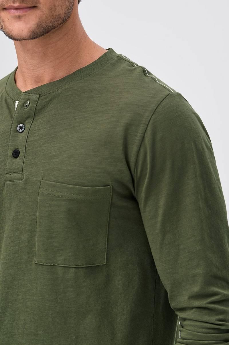 Sons of Owen Langærmet T shirt med knapper Grøn Herre