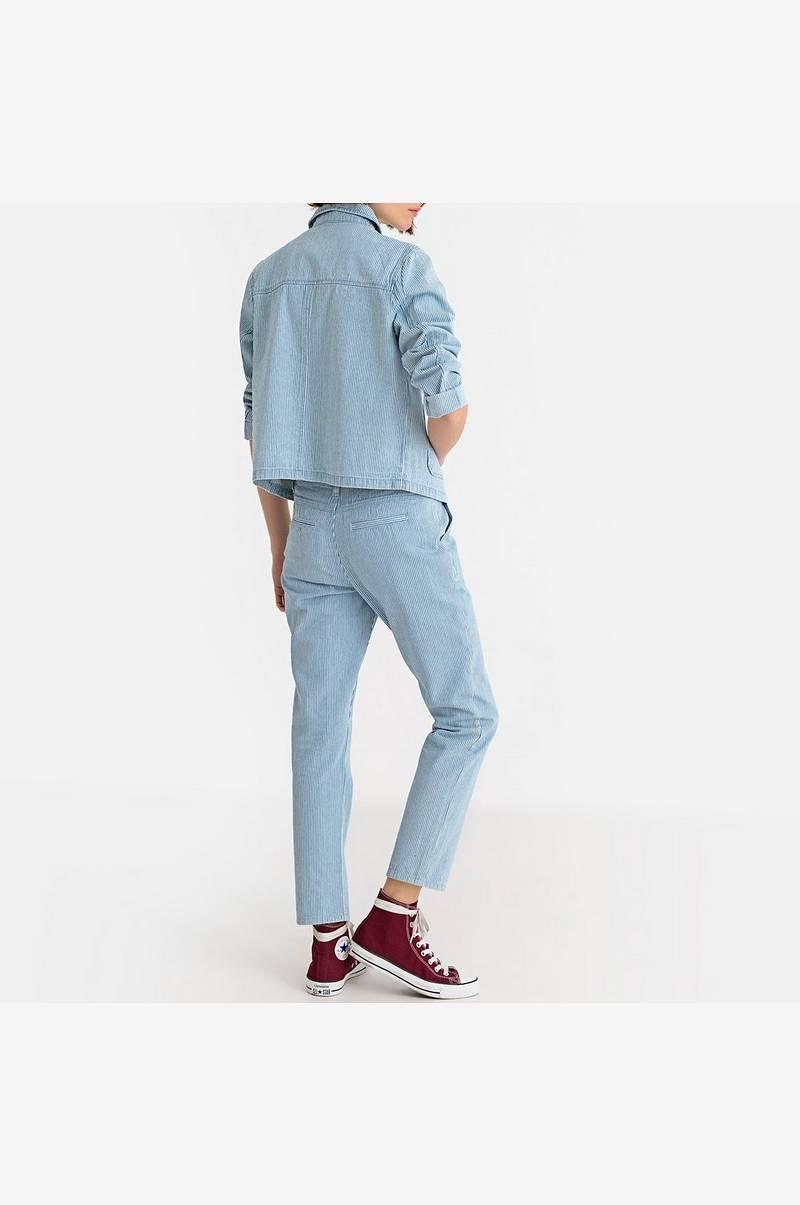 Kort jakke med knapper, stripete