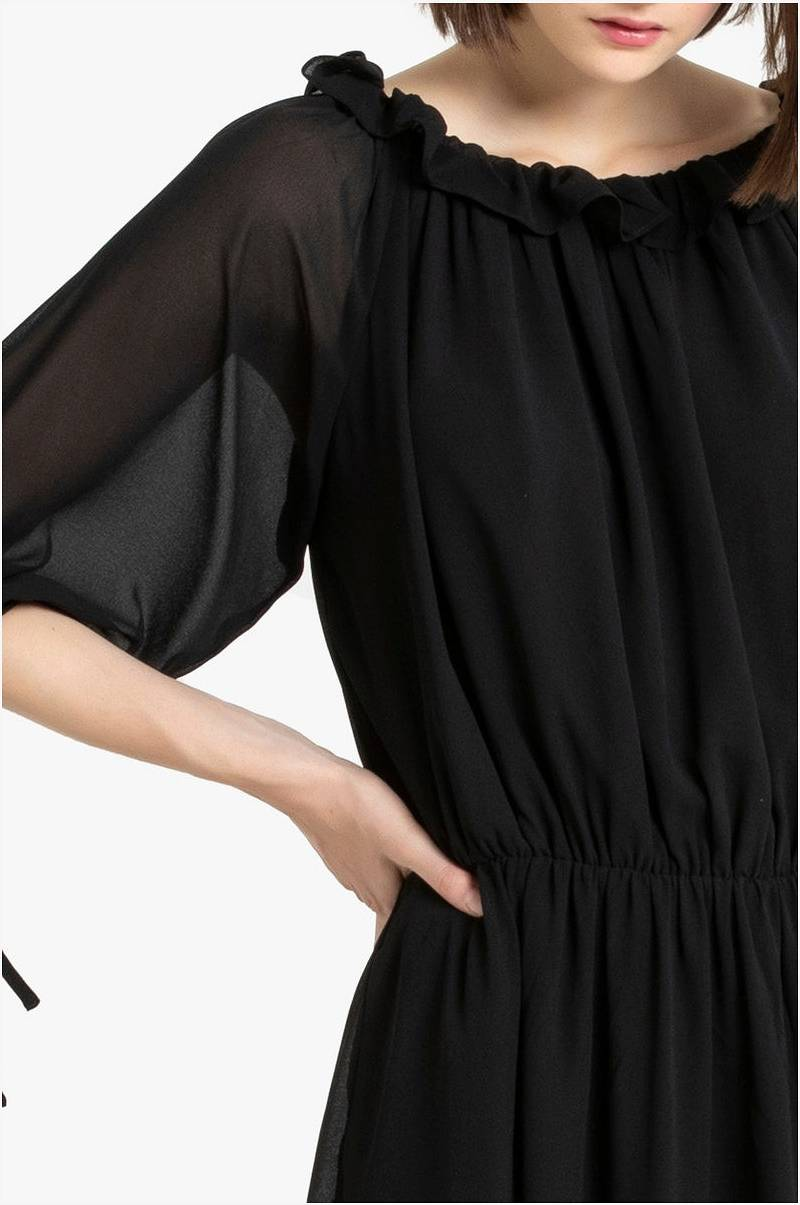 La Redoute Collections Halvlang kjole med rund halsringning