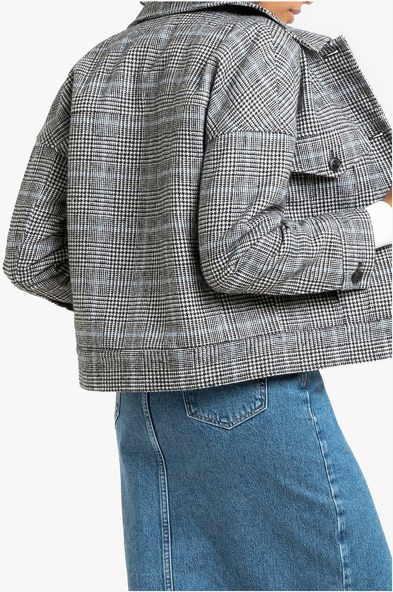 La Redoute Collections Kort, rutet jakke Svart Dame