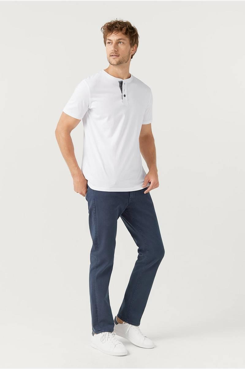 Ellos Men T shirt med knapper Hvid Herre Ellos.dk