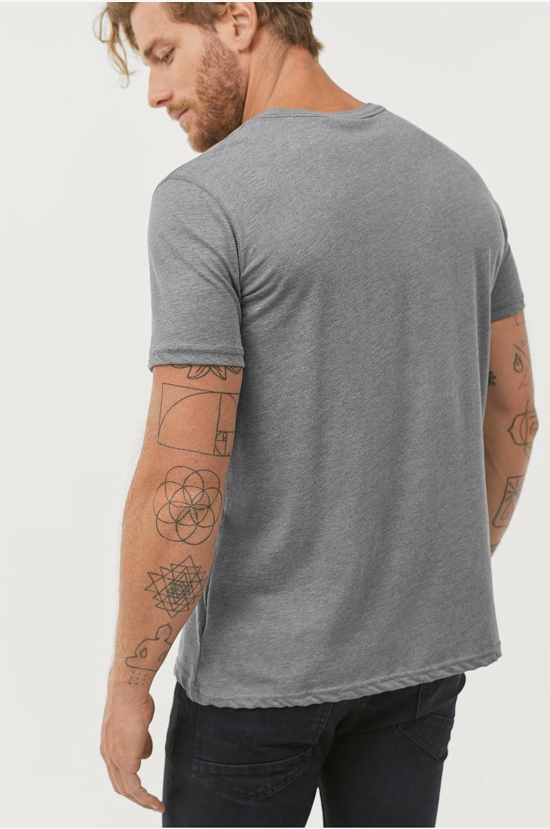 Ellos Men T shirt med knapper Grå Herre Ellos.dk