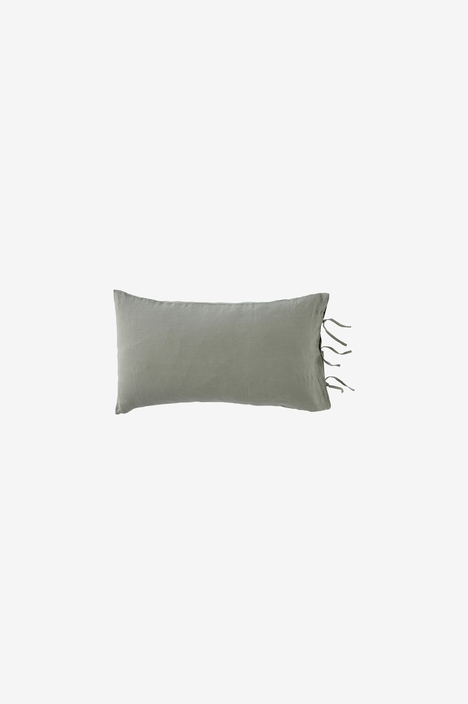 Ellos Home Örngott Candice i tvättat lin med knytband - Grön - Örngott c1WU2