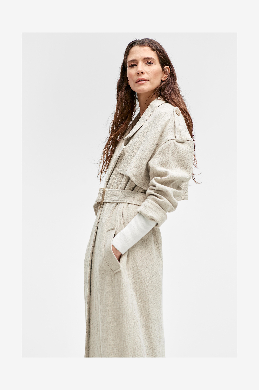 Ellos Collection Coat Cilia trenssi - Luonnonväri - Pitkät takit maNRNb