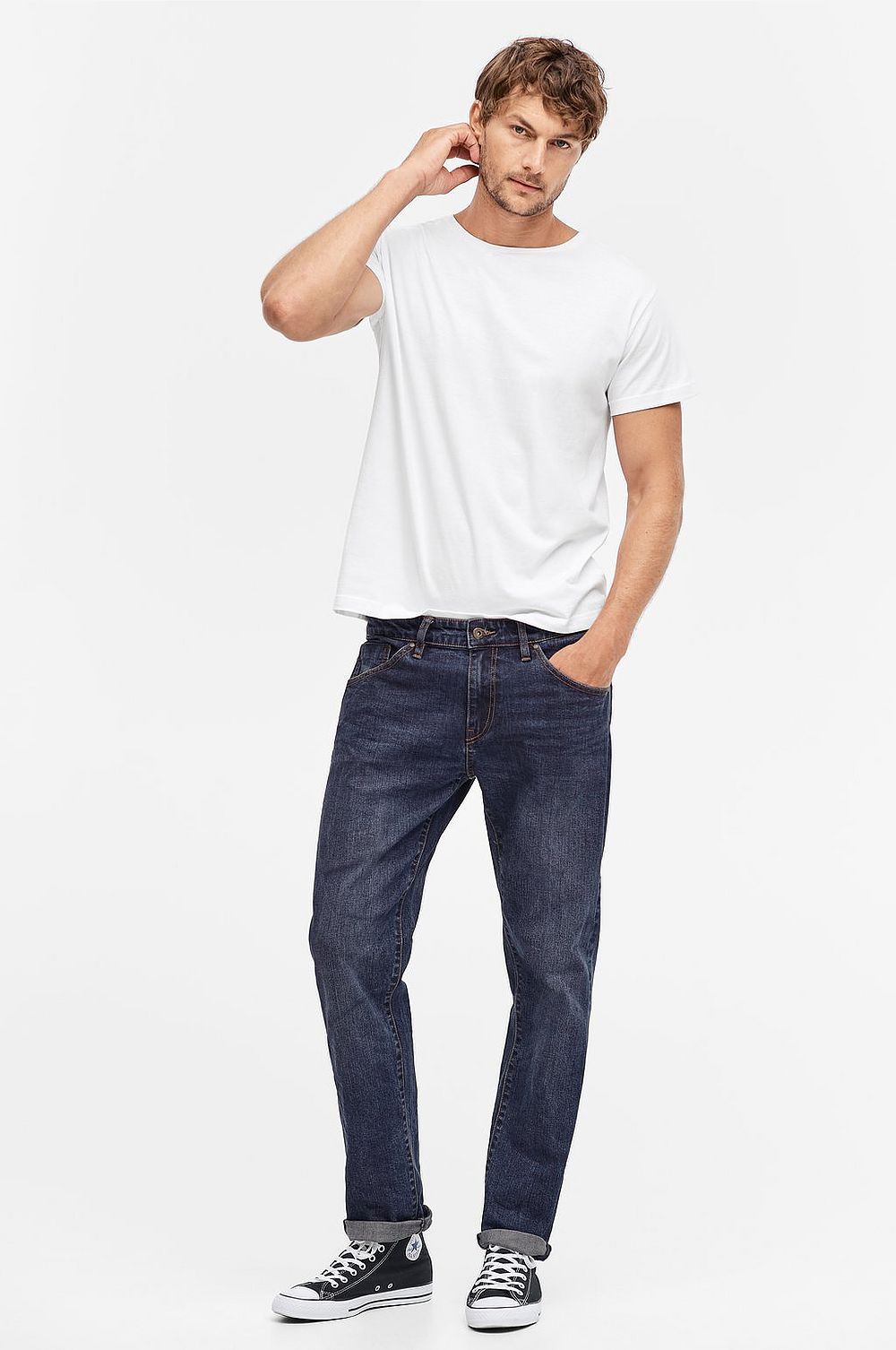 Men Jeans, loose fit med stretch - Blå - Herr