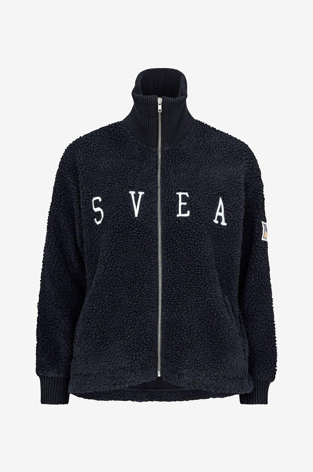 Svea Tröja Kathryn Pile Zip Sweater Blå Dam klassisk