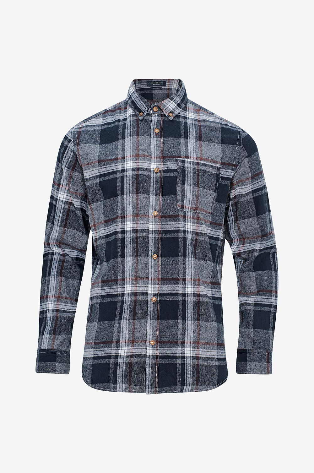 Jack & Jones Skjorta jprColumbo Check Shirt L S, slim fit - Grå - Herr