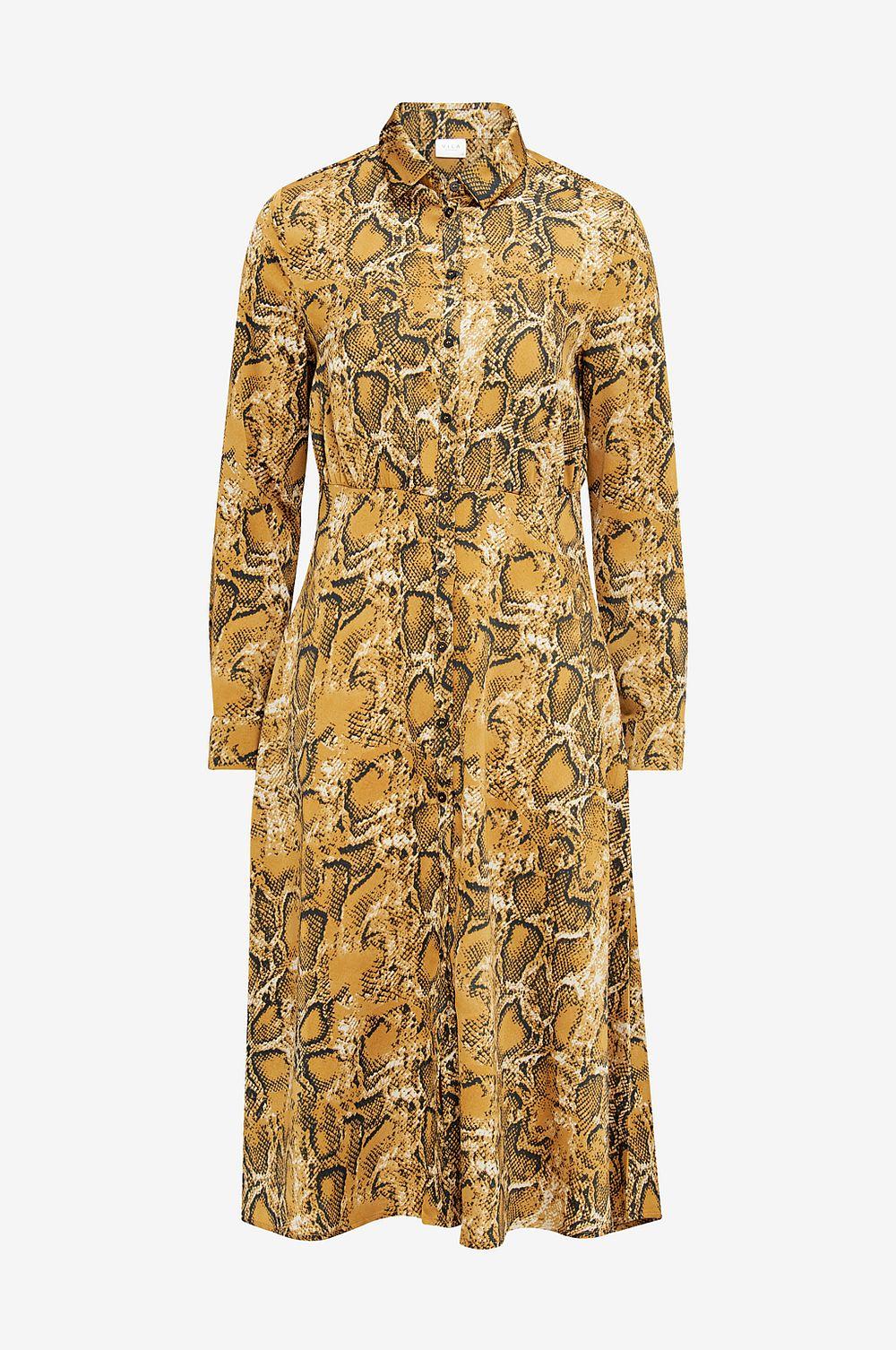 3443957c6035 Vila Skjortklänning Skjortklänning Skjortklänning viMolga L S Midi Dress -  orange - Dam 3fe4ab