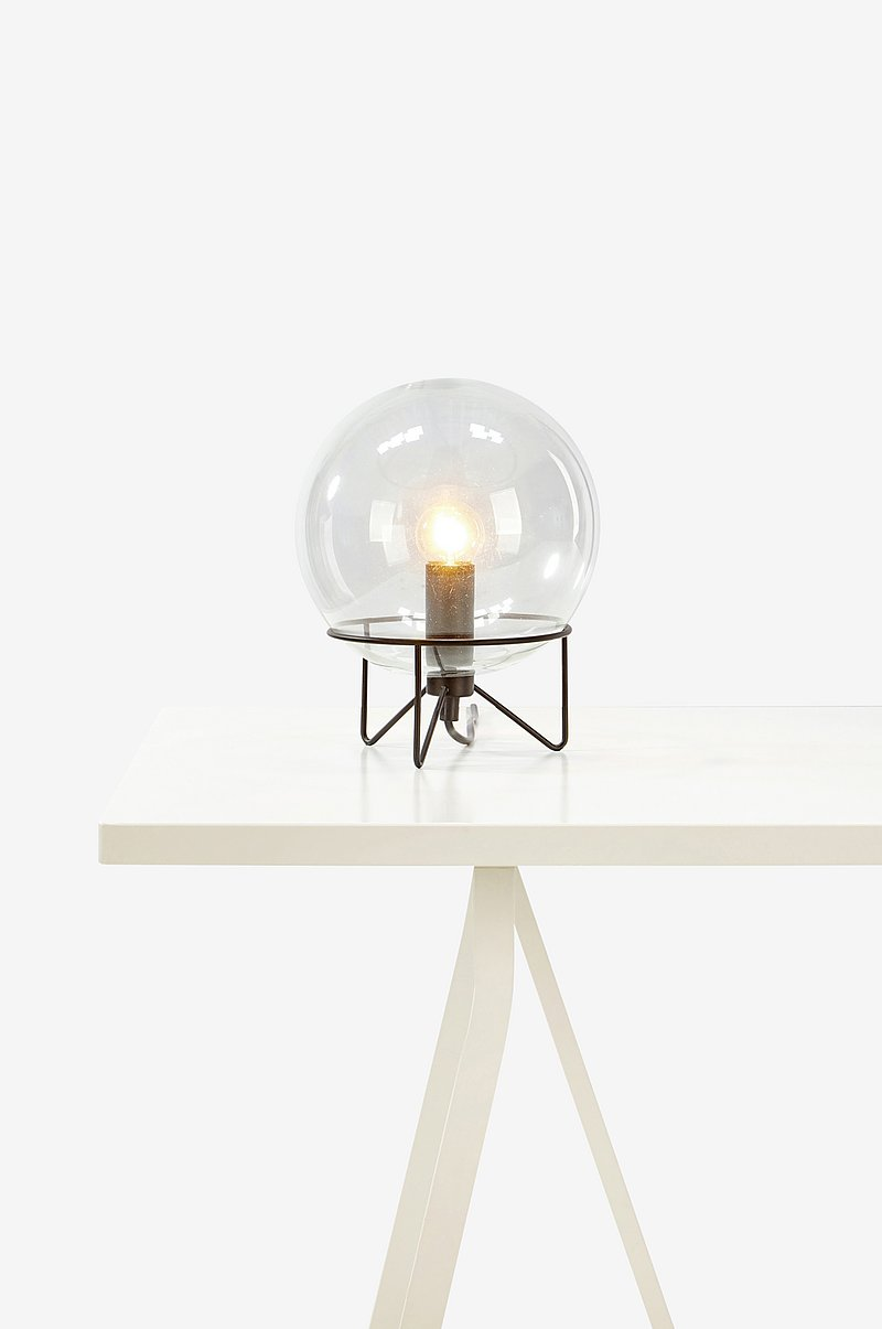 Sivan bordlampe, sort/klart glas