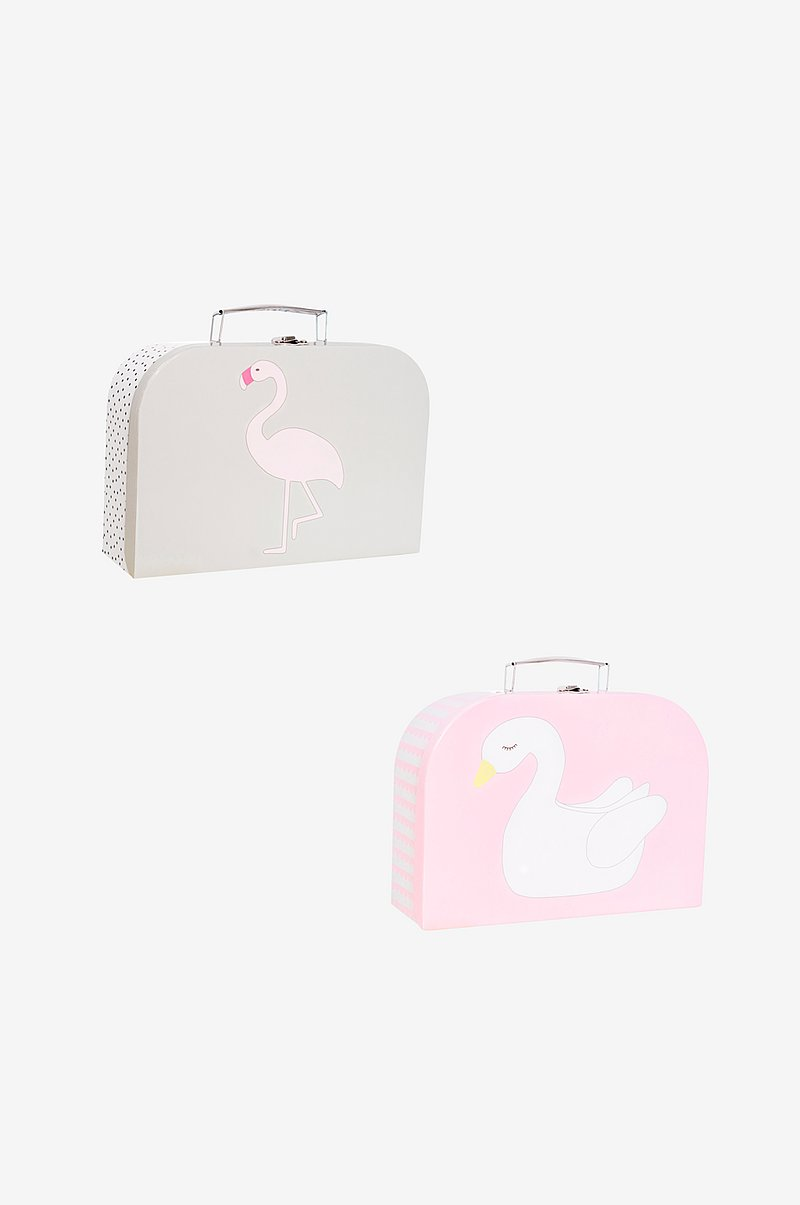 Pappkoffert 2-pk Svane & Flamingo
