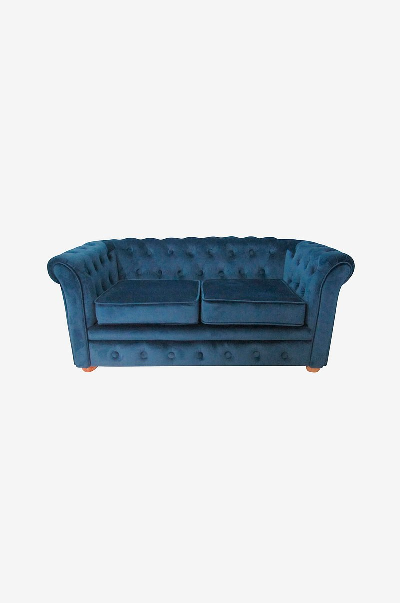 Sofa Chesterfield Fløjl Blå