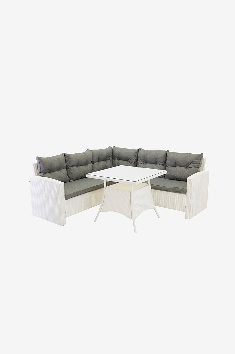 Watford - Corner sofa inc. Table - White Wicker/Grey cushions - Glass Table