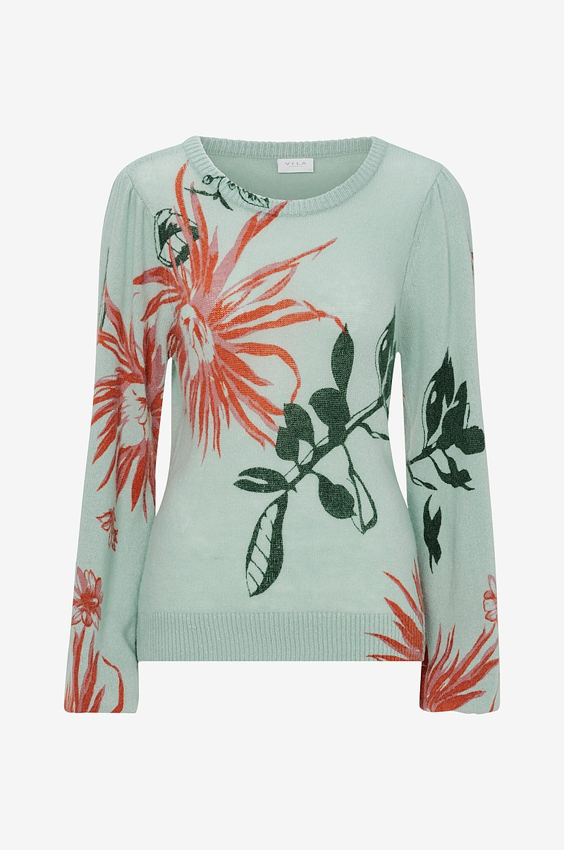 Trøje viLiane Knit Print L/S Top