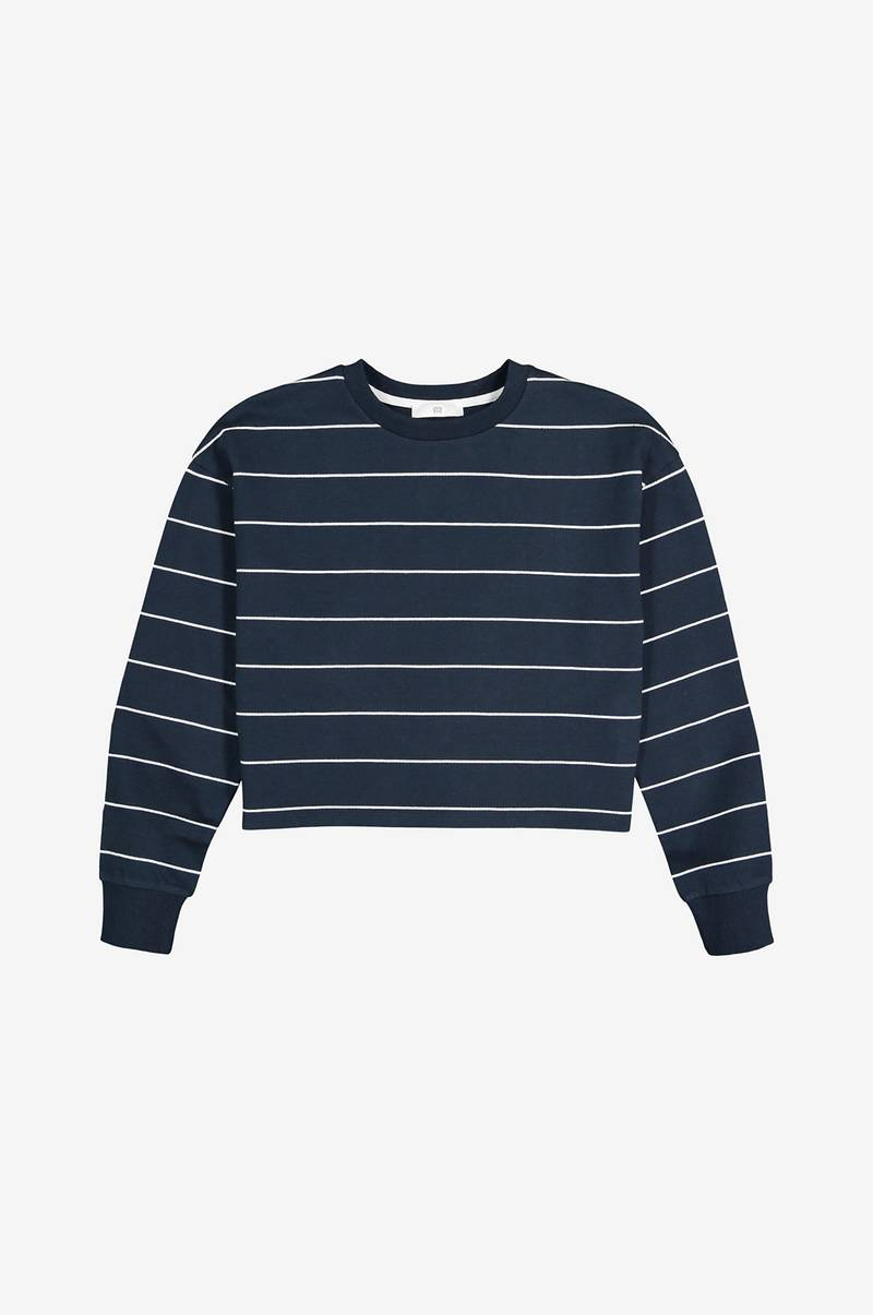Kort, stribet sweatshirt