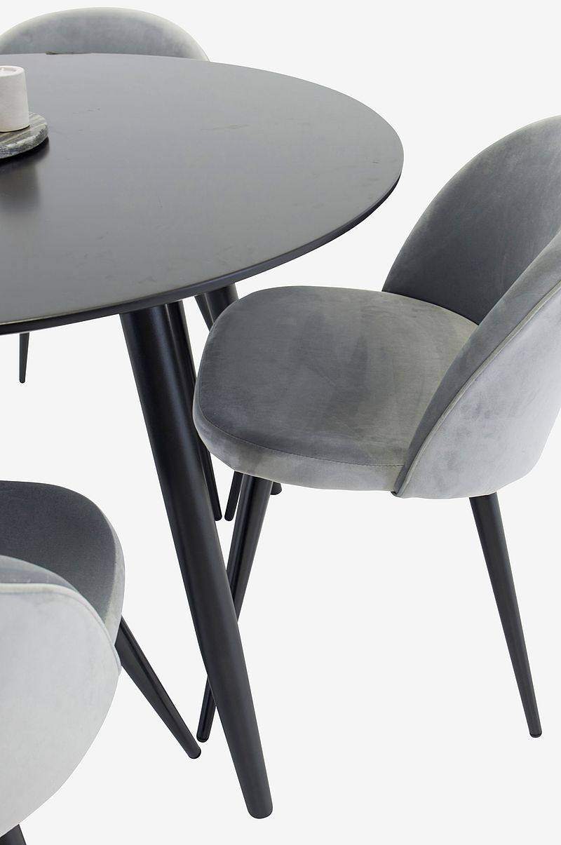 Spisegruppe med spisebord Pia Round Table og 4 Velvet Chair