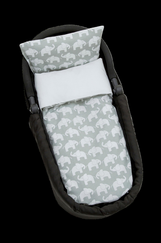 Elefant -pussilakanasetti, harmaa 70 x 80 cm