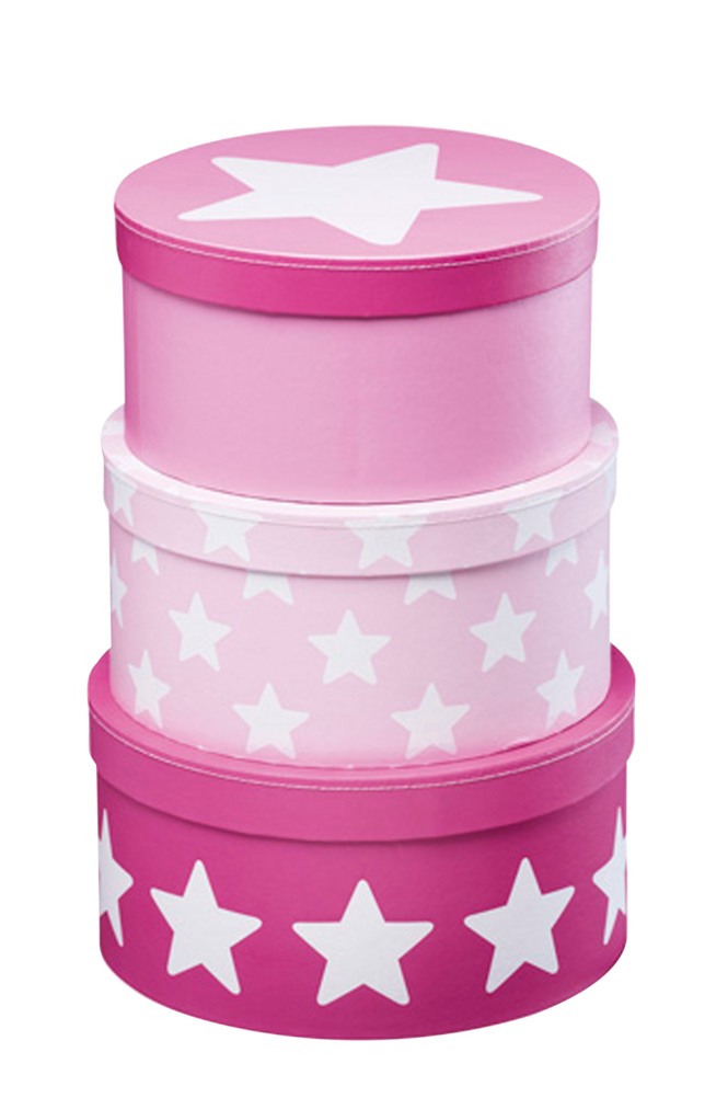 Star Pappboxar 3 pack Rosa