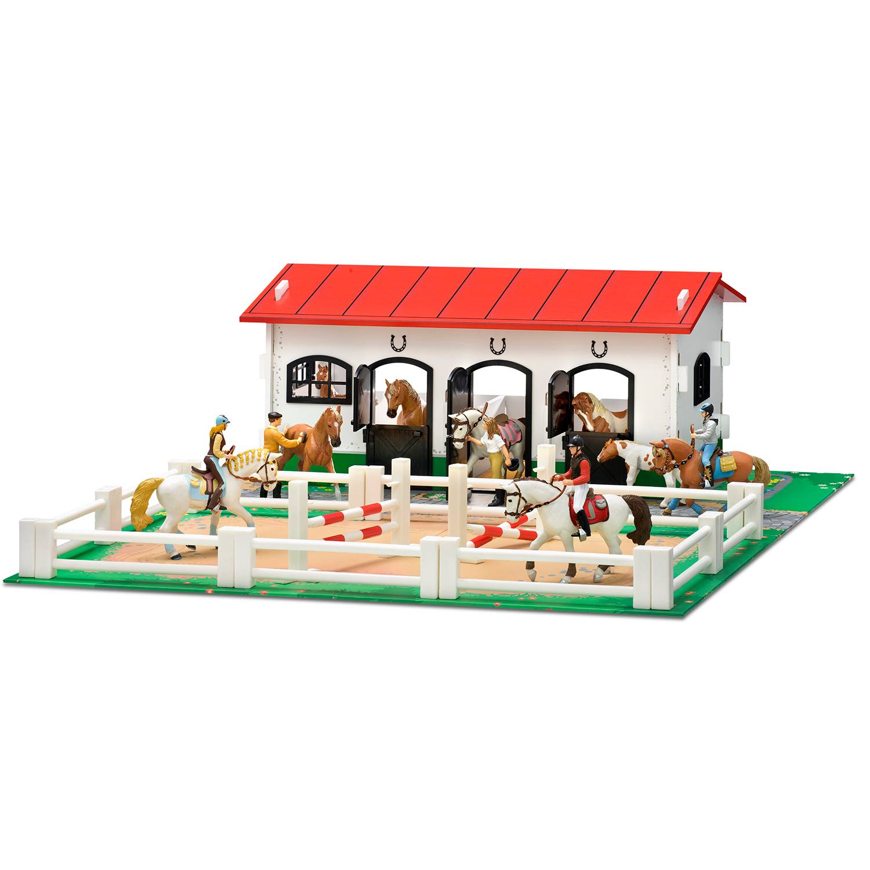 Hevostalli ja leikkialusta