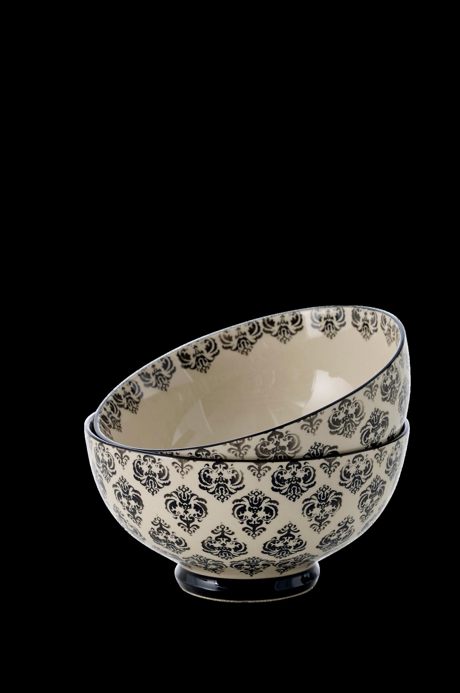 Skål Carleen 2-pak Ellos Porcelæn til Boligen i Cremehvid/sort