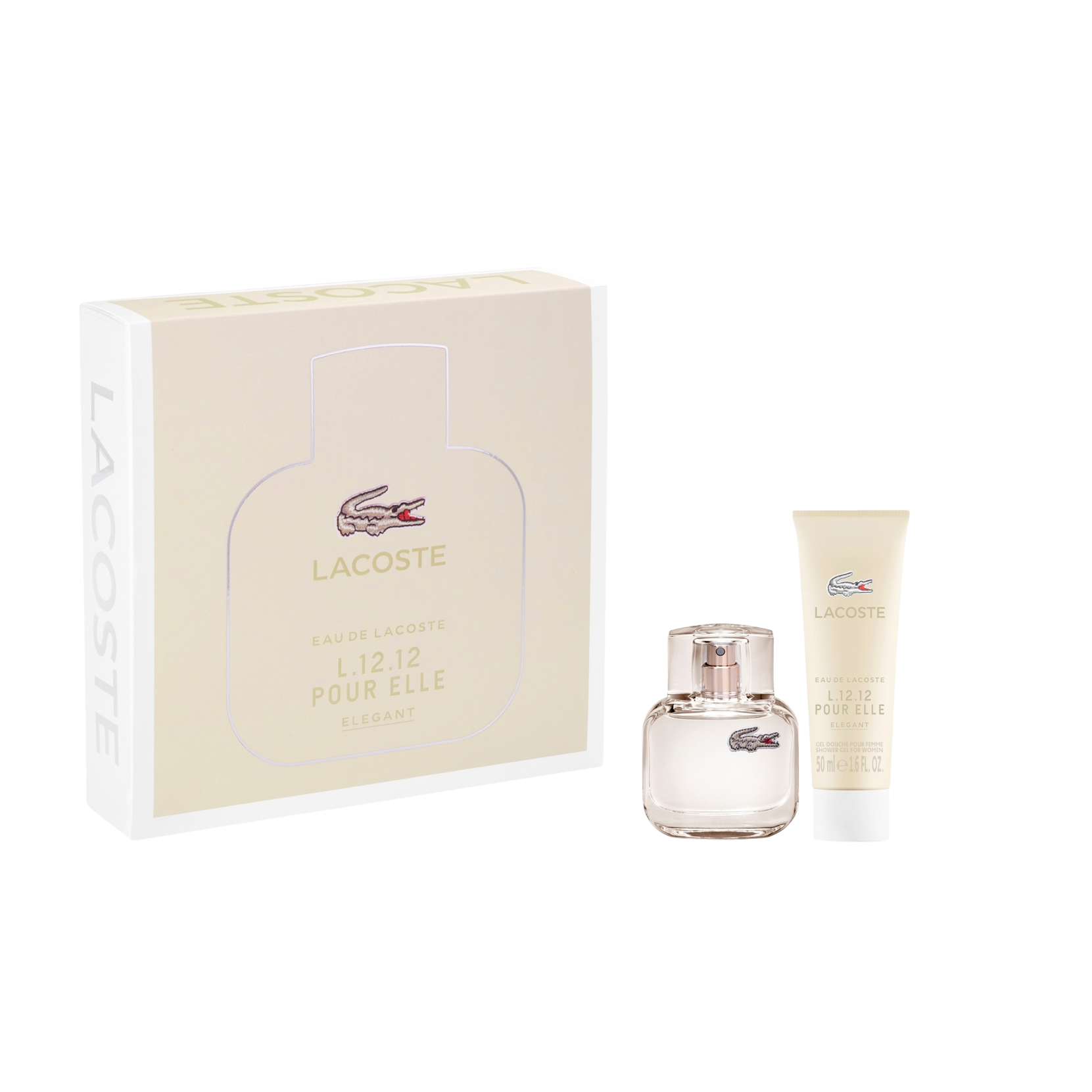 L.12.12 Pour Elle Elegant Edt 30 ml + Showergel 50 ml Gaveæske Lacoste  til Kvinder i