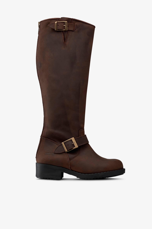 Bikerstøvle af skind Johnny Bulls Støvler til Kvinder i Mørkebrun
