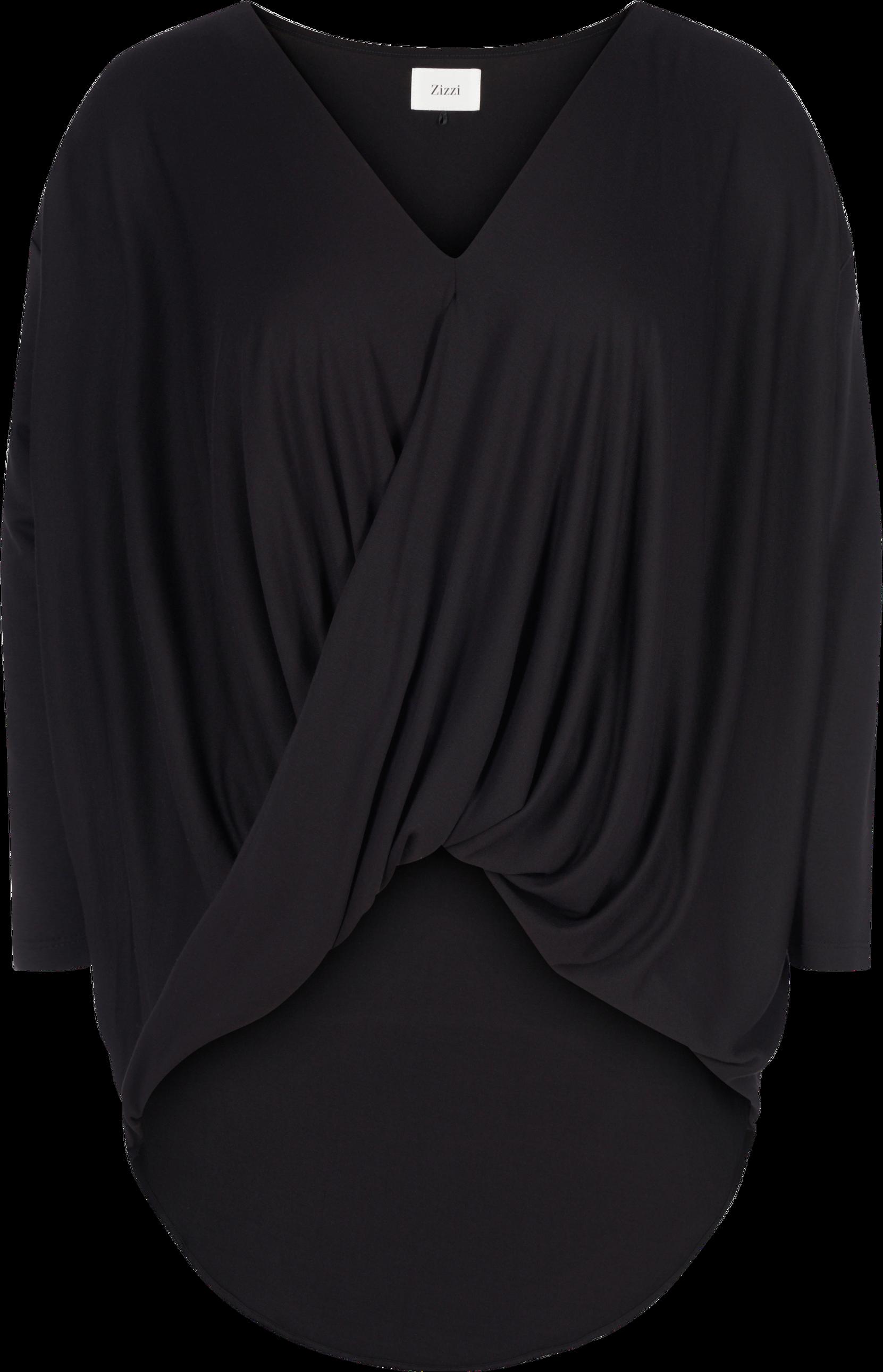 b090eac0311 Bluse med drapering Zizzi Skjorter & bluser til Kvinder i Sort